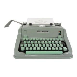 Green Hermes Media 3 Typewriter For Sale