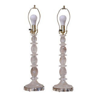 Rock Crystal Table Lamps on Acrylic Bases From Brazil - a Pair For Sale