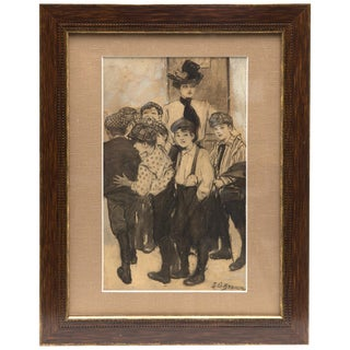 J.G. Brown Signed Charcoal and Ink Drawing, Circa 1900 For Sale