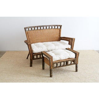 French Deco Style Rattan Wicker Settee and Ottoman Preview