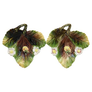 Antique Majolica Strawberry Plates, a Pair For Sale