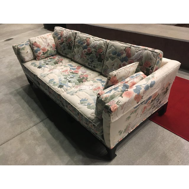 Off-white Manner of Michael Taylor for Baker Tufted Chinoiserie Sofa With Ming Legs For Sale - Image 8 of 13