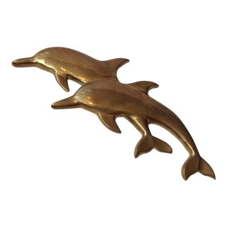 Vintage Brass Wall Hanging Dolphins