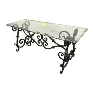 20th Century French/Italian Style Wrought Iron Console Table For Sale