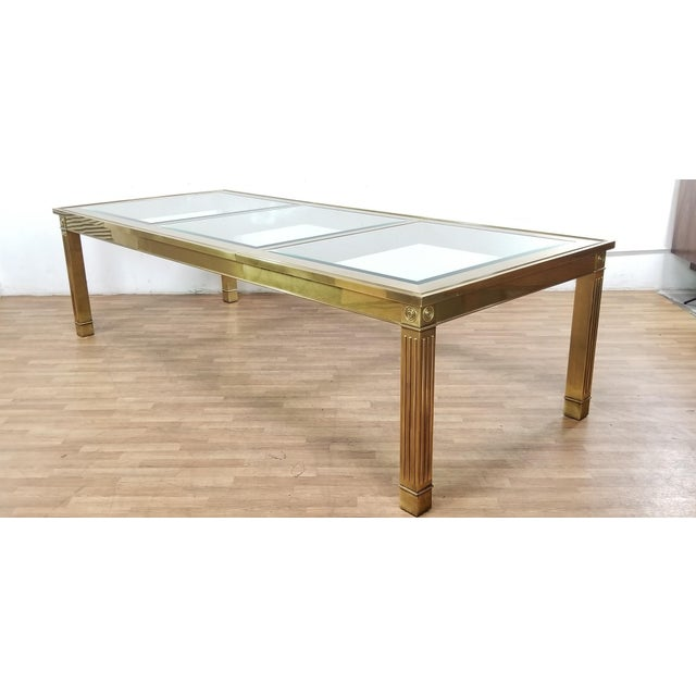 Mid-Century Modern Mastercraft Brass and Beveled Glass Extension Table With Columnar Legs For Sale - Image 13 of 13