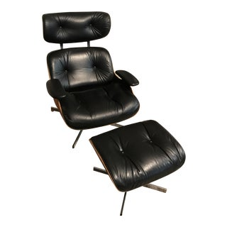 1970s Mid Century Modern Black Leather Chair and Ottoman - 2 Pieces For Sale