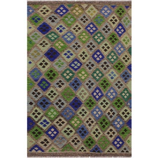 Contemporary Kilim Angelena Gray/Blue Hand-Woven Wool Rug - 4'1 X 5'10 For Sale