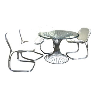Vintage Platner Reproduction Chrome Dining Table & 4 Chairs For Sale