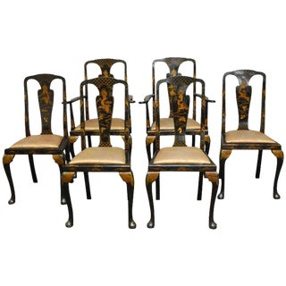 Queen Anne Style Chinoiserie Lacquered Dining Chairs - Set of 6