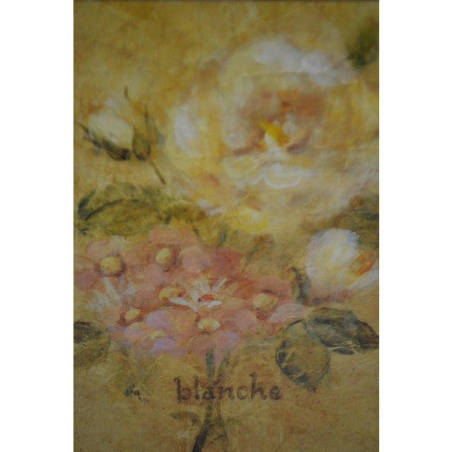 Glass Vintage Framed French Jaune & Blanche Floral Still Life Prints For Sale - Image 7 of 13