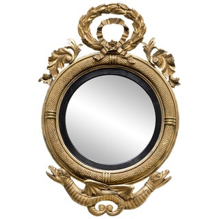 Rare American Federal Giltwood Convex Mirror, circa 1810 For Sale