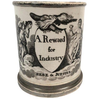 """Early 19th Century English Neoclassical Staffordshire """"A Reward for Industry"""" Pottery Child's Cup For Sale"""