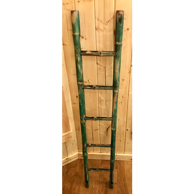 Vintage Green Chipped Paint Bamboo Ladder For Sale In Dallas - Image 6 of 9