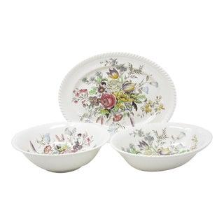 Vintage Johnson Brothers Garden Bouquet Serving Platter and Serving Bowls - 3 Pieces For Sale
