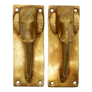 Brass Elephant Head Door Handles - a Pair For Sale