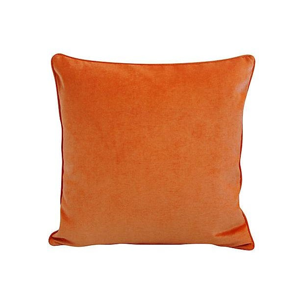 "Early 21st Century Custom Tailored Tangerine Orange Velvet Feather/Down Pillows 24"" Square - Pair For Sale - Image 5 of 5"