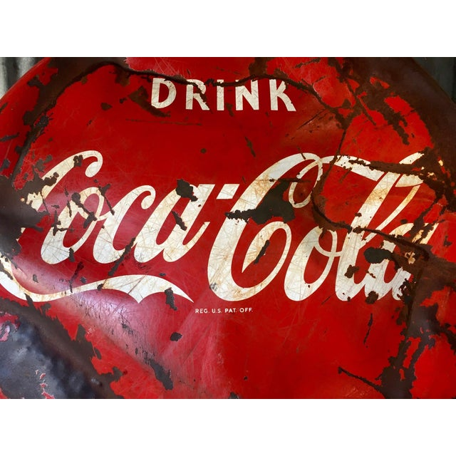 Metal Vintage 1950s Coca-Cola Button Sign For Sale - Image 7 of 9