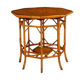 Circa 1880 Bamboo Table With Inset Lacquer Panels