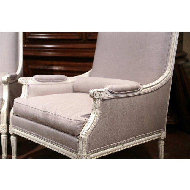 French Pair of 19th Century French Louis XVI Carved Painted Armchairs With Pillows For Sale - Image 3 of 9