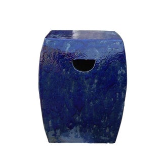 Chinese Navy Blue Clay Garden Stool For Sale