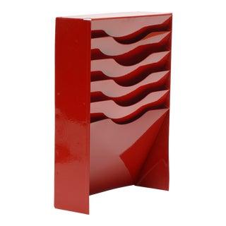 Vintage Vertical File Holder/ Magazine Rack Refinished in Fire Engine Red For Sale