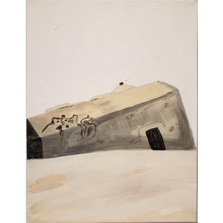 Contemporary Painting of Beach Bunker Ruin by Lionel Lamy For Sale