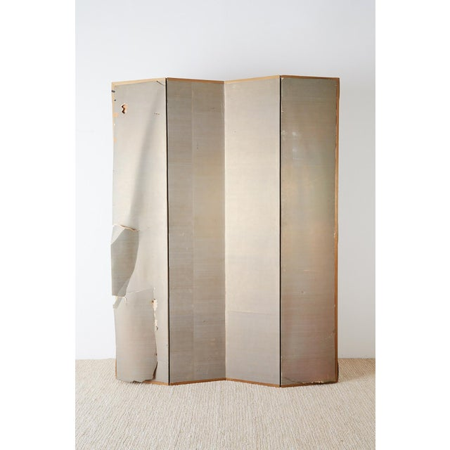 Japanese Edo Style Four-Panel Spring Landscape Screen For Sale - Image 12 of 13