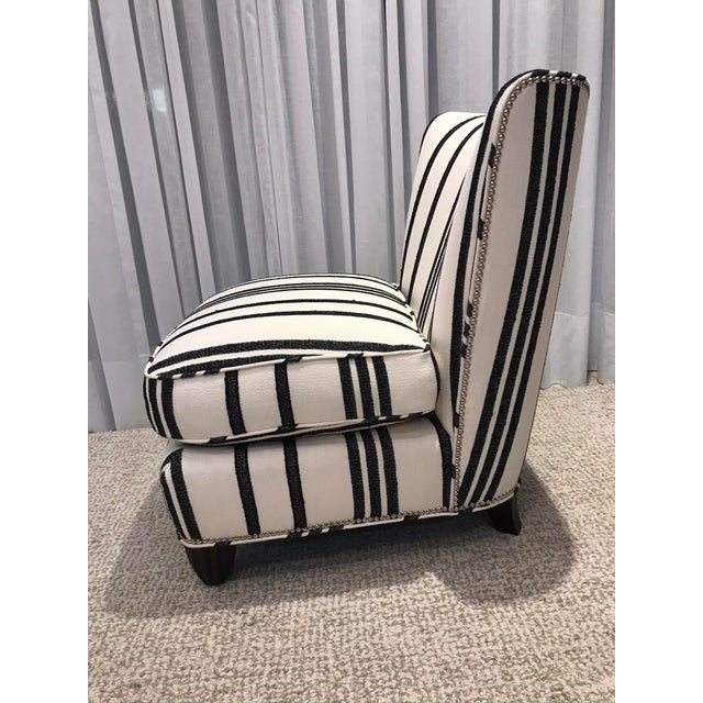 Wood Barbara Barry Armless Chair with Schumacher Stripe Fabric For Sale - Image 7 of 13