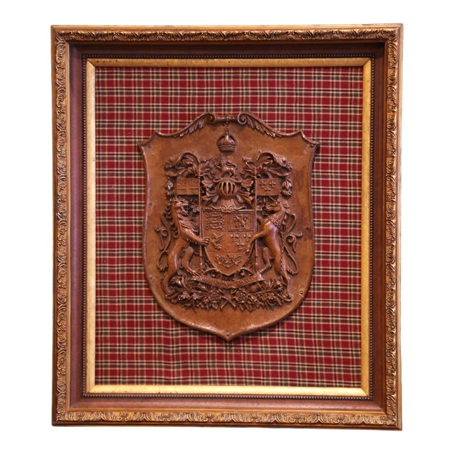 19th Century French Carved Walnut Royal Coat of Arms of Canada in Gilt Frame For Sale