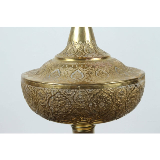 Tall Persian Polished Brass Decorative Urn For Sale - Image 4 of 8