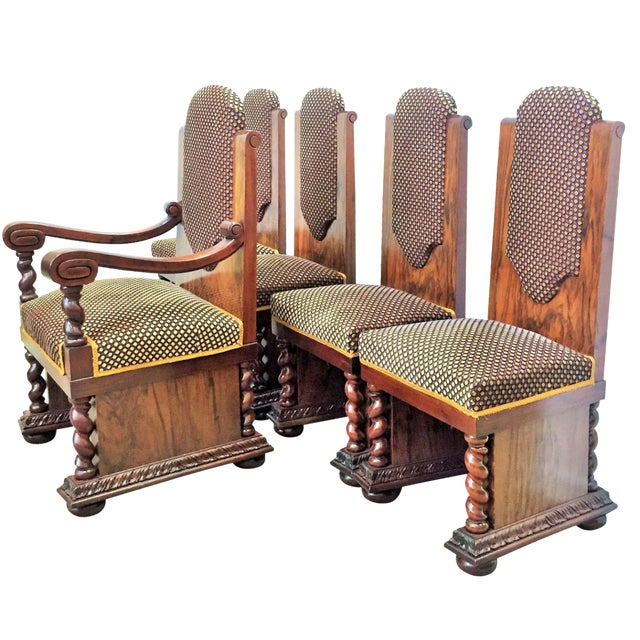 Walnut & Mahogany Dining Chairs - Set of 5 For Sale