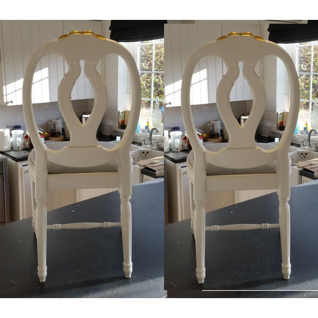 Carved Rose Gustavian Chairs With Gold - Pair For Sale - Image 10 of 11