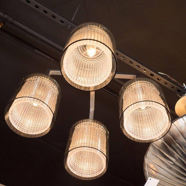 Scandinavian Mid-Century Modern Four-Arm Chandelier, Carl Fagerlund for Orrefors For Sale - Image 10 of 11