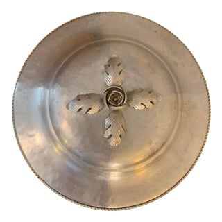 1950s Vintage Continental 'Hana Wrought' Hand-Forged Aluminum Lidded Bowl With Floral Leaf. & Bud Handle For Sale