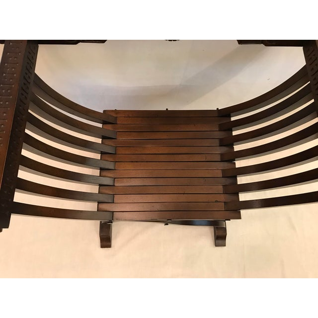 Wood 20th Century Italian Savonarola X-Form Carved Wooden Chair For Sale - Image 7 of 13