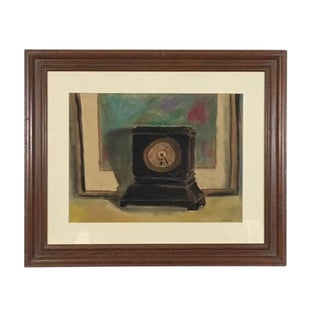 1990s Still Life with Clock Signed Watercolor Painting For Sale