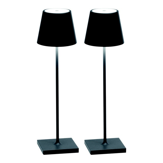 Zafferano Dark Grey Rechargeable Indoor/Outdoor Cordless Table Lamp - Pair For Sale