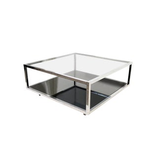 Chrome & Smoked Glass Cocktail Table For Sale
