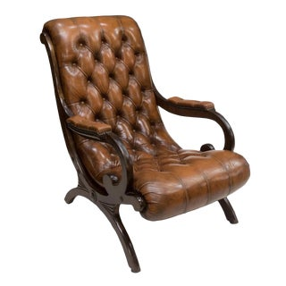 Italian Button-Tufted Leather Lounge Chair