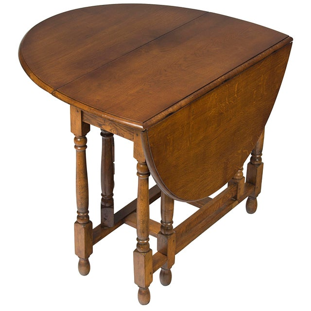 1920s Jacobean Turned Gate Leg Drop Leaf Side Table For Sale - Image 10 of 10