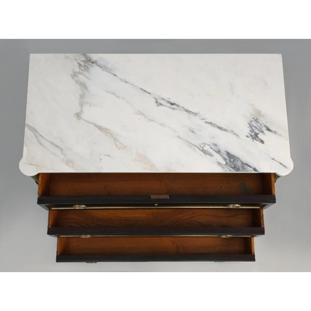 French Louis XVI Ebonized Commode With Marble For Sale - Image 9 of 11