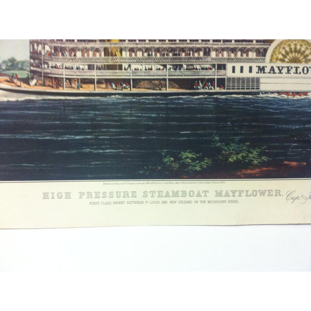 "American Currier & Ives Color Print, ""High Pressure Steamboat - Mayflower"", 1954 For Sale - Image 3 of 4"