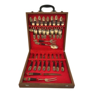 Vintage Brass & Rosewood Flatware Set in Box- 28 Pieces For Sale