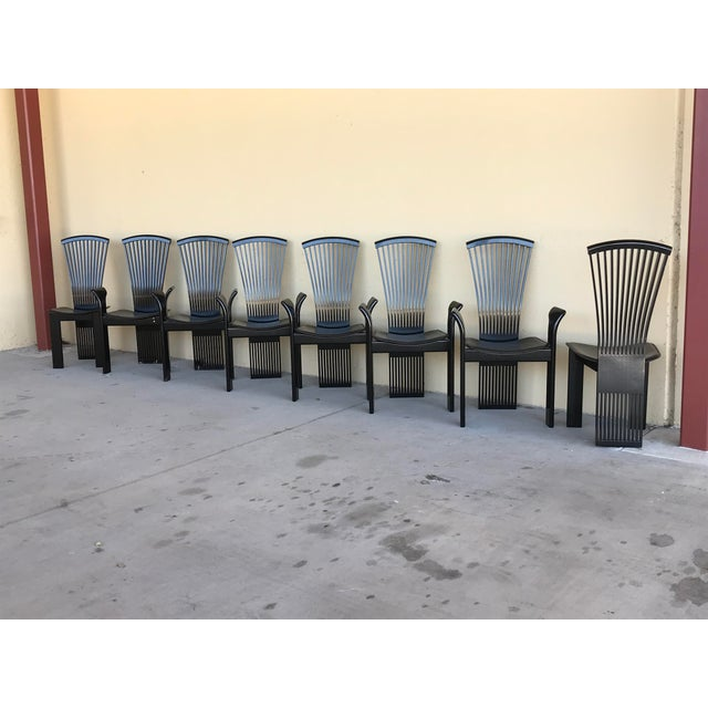 Italian 1970s Vintage Pietro Costantini Tall Fan Back Black Lacquered Dining Chairs - Set of 8 For Sale - Image 3 of 12