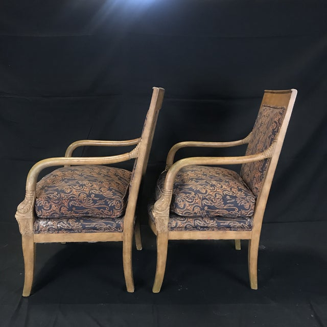 1940s Vintage Antique French Empire Style Armchairs- A Pair For Sale In Portland, ME - Image 6 of 11