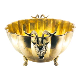 1960s Italian Brass Scalloped Bowl With Rams Head Motif For Sale