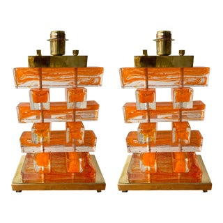 Contemporary Murano Glass and Brass Kapla Lamps. Italy - a Pair For Sale