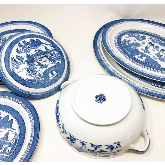 Late 19th Century Antique Blue & White Canton Pattern China Collection - Set of 14 For Sale - Image 5 of 13