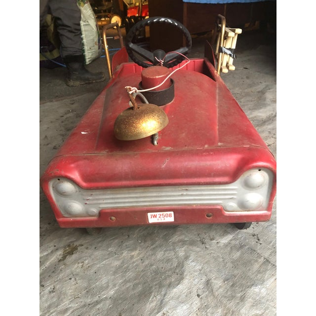 1950s Vintage Fire Engine Toy Pedal Car With Ladders For Sale - Image 5 of 8