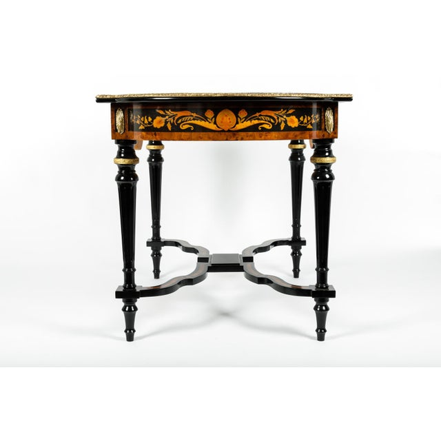 Metal 19th Century Boulle Style Center Table For Sale - Image 7 of 11
